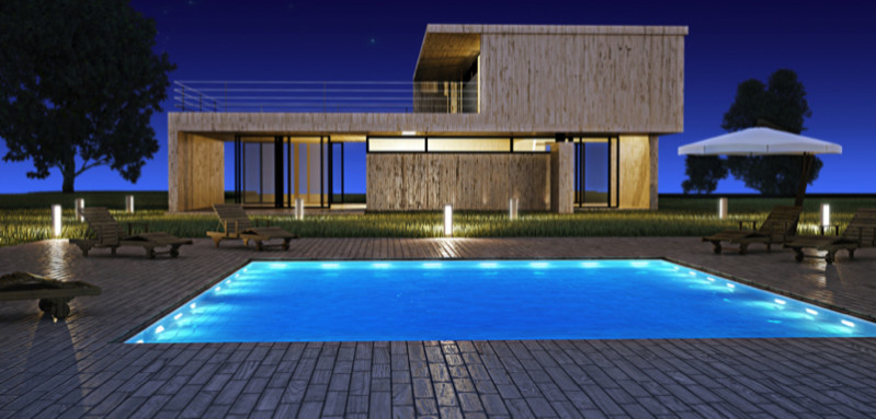 Beautiful contemporary home with lit swimming pool e1429395311113 - Amazing Luxurious Glistening Swimming Pools