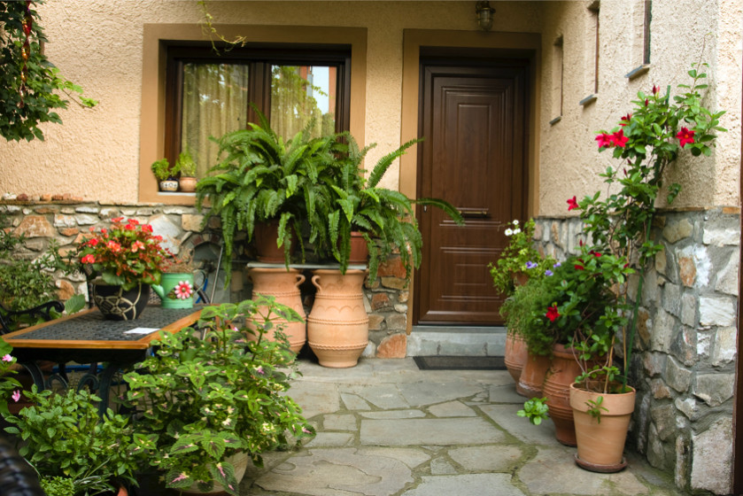 Brown front house entrance door and slate stone path & Home Front Entrance Doors and Humble Entrance Ways Pezcame.Com