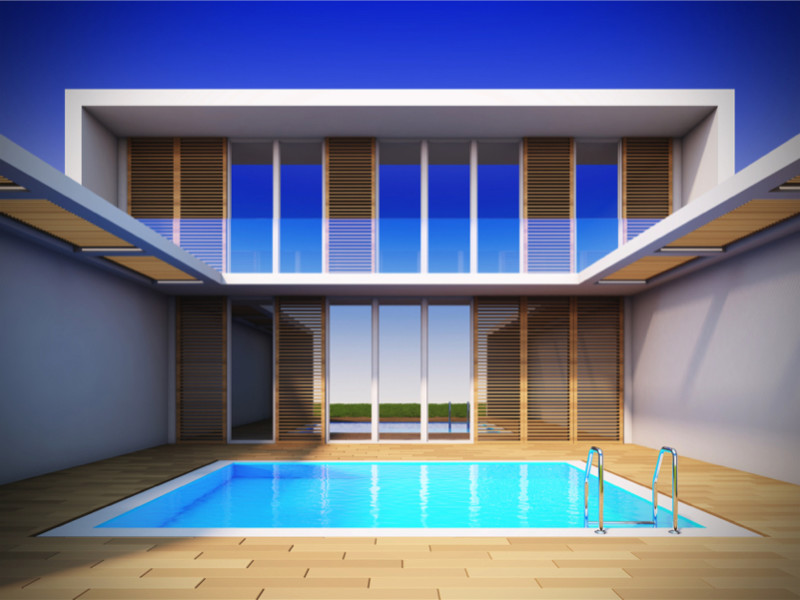 Contemporary home with minimalist swimming pool e1429395800674 - Amazing Luxurious Glistening Swimming Pools