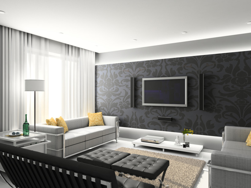 Modern interior living room with exclusive black on grey patterned wallpaper with prominent tv and speakers set