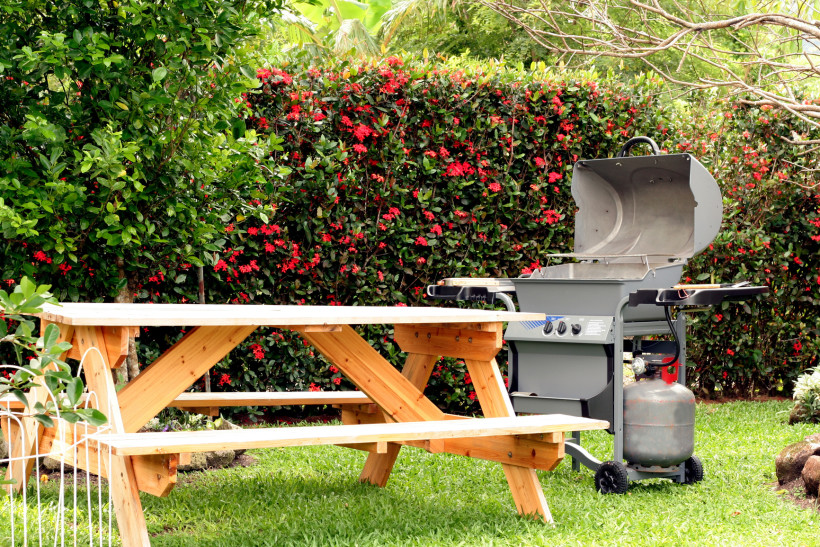 Humble home back yard picnic table on the grass with a gas fired BBQ grill
