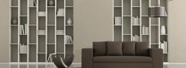 Modern minimalist contemporary display bookcase and sofa