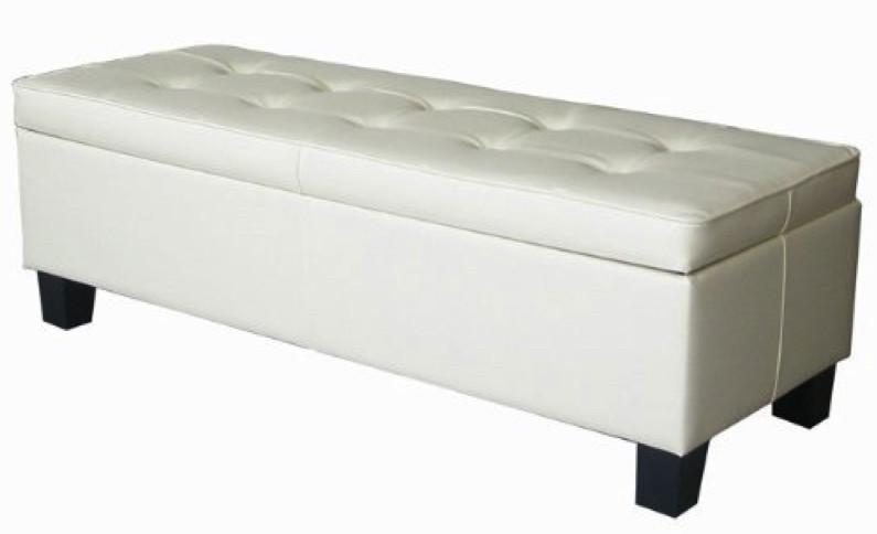 white leather storage ottoman 1