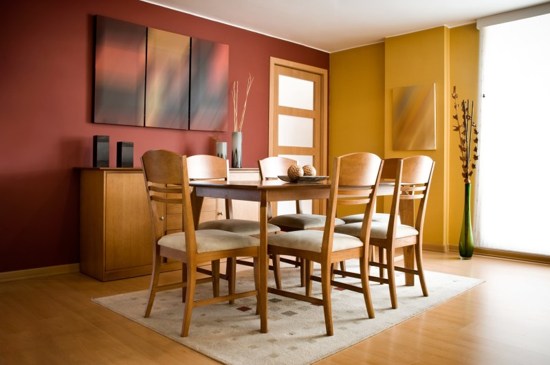 cosy simple dining room area with standard timber dining table and six chairs set in a - Simple Dining Room