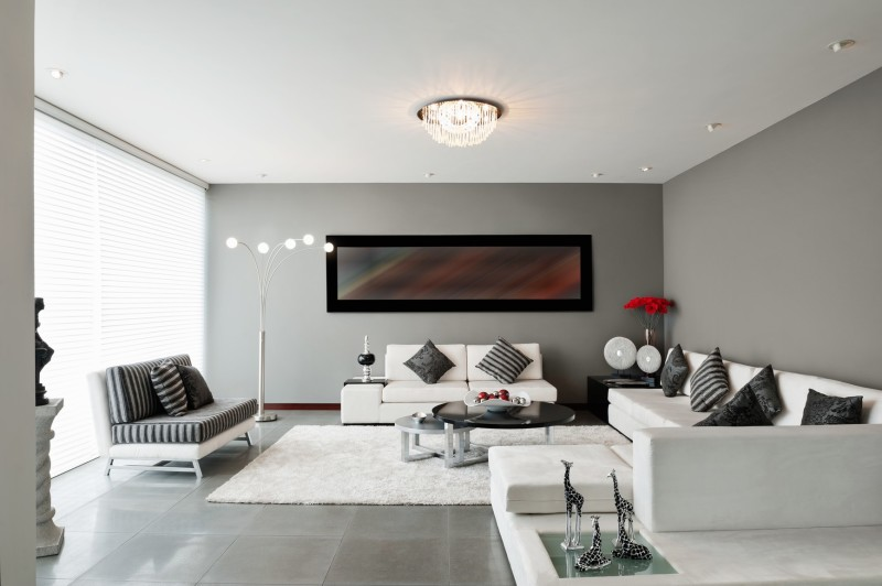 Fantastic Contemporary Living Area Grey Walls With Large Artwork White Lounge Furniture And