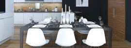 A modern white kitchen is complemented beautifully by this easy six place dining table setting with white eiffel tower chairs