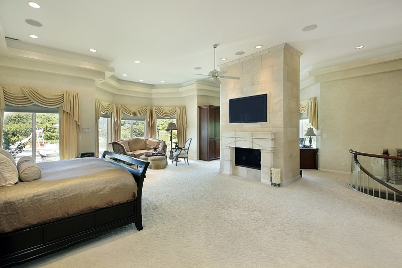 Very Large Master Bedroom At Top Of Stairs In Luxury Home With Central  Marble Fireplace, Part 65