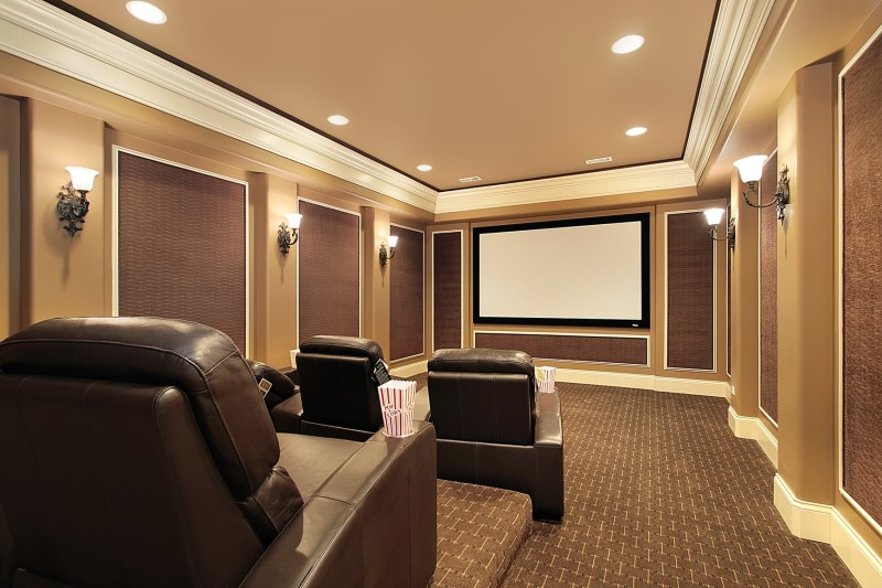 Home Theater In Upscale House In A Dedicated Windowless Room Specialized Seating And Large Tv