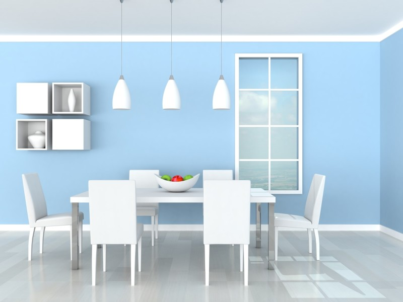 simple modern furniture. a very modern dining room setting with white table and six chairs on simple furniture