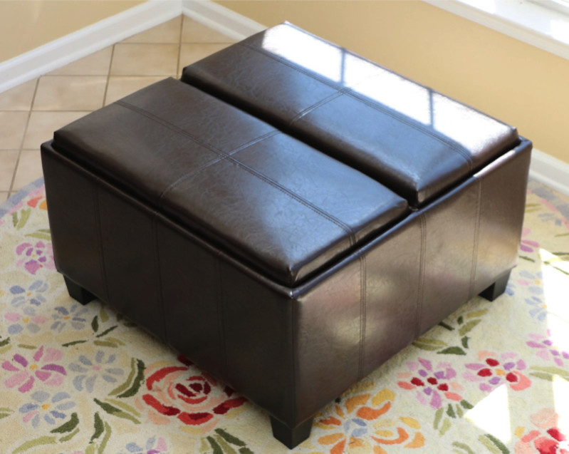 Ottomans Brussels Brown Bonded Leather Storage Chest: All Styles Of Poufs And Ottomans For Around $100 Or Less