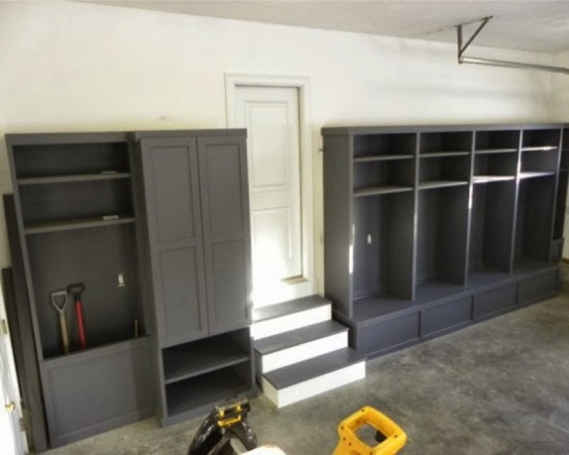 Mudroom ideas featuring storage areas benches for Garage mudroom