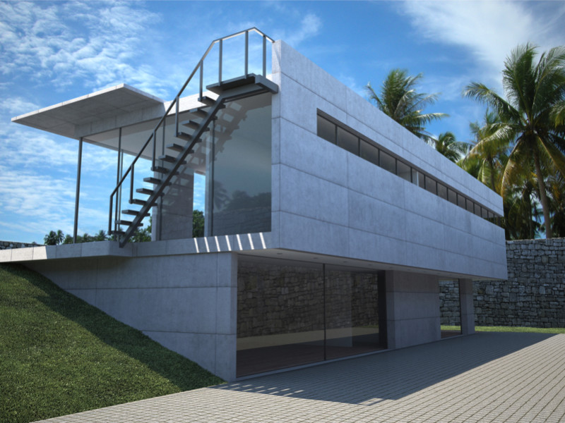Modern house exterior Exterior view of a modern house with palm trees e1435169067865 - Beautiful Modern Homes and Modern Architectural House Design