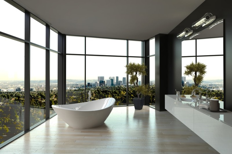 Interior Designs For Bathrooms With Modern Bathroom Tub
