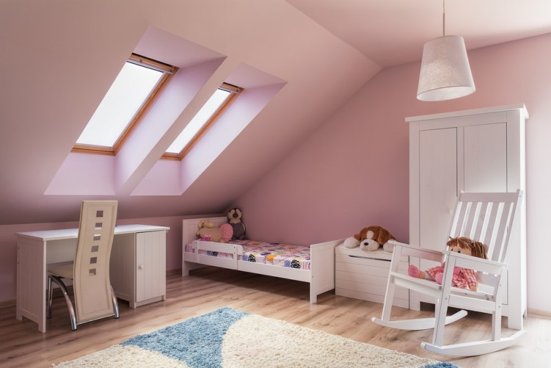 Urban Apartment Cute Pink Girls Room On The Attic Min E1434018376535   Loft  Room Decorating Ideas