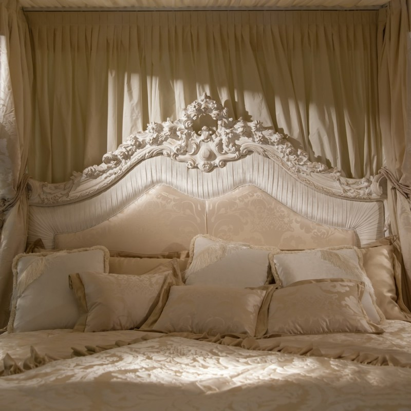 elegant cream bedroom with very ornate bedhead and an abundance of soft luxurious bed pillows to - Decorative Bed Pillows