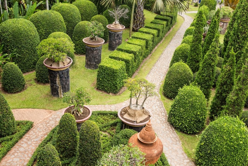 Walkway in the garden amongst an abundance of topiary shapes