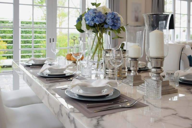 Elegant Dining Table Setting With Vintage Accessories And Sophisticated Style