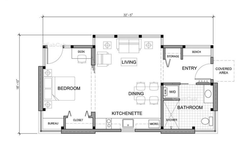 Peachy Unique 550 Sq Ft Small House Tiny House Design Concept By Fabcab Inspirational Interior Design Netriciaus