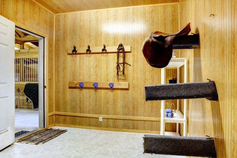 Beautifully clean storage room within stable horse barn