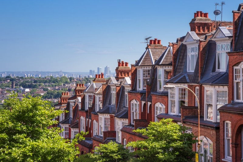 Victorian Brick Houses Of Muswell Hill And Distant Panorama London