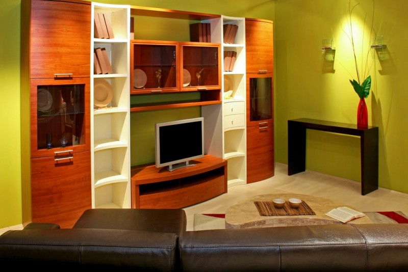 Green Living Room With Big Wood And White Colored Entertainment Bookcase Display Unit
