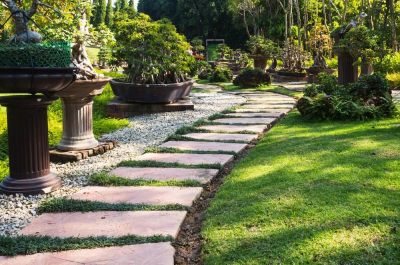 Landscaped garden pathway with decorations