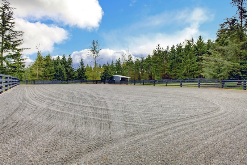 Large smoothed and dragged horse dressage arena with post and rail fencing