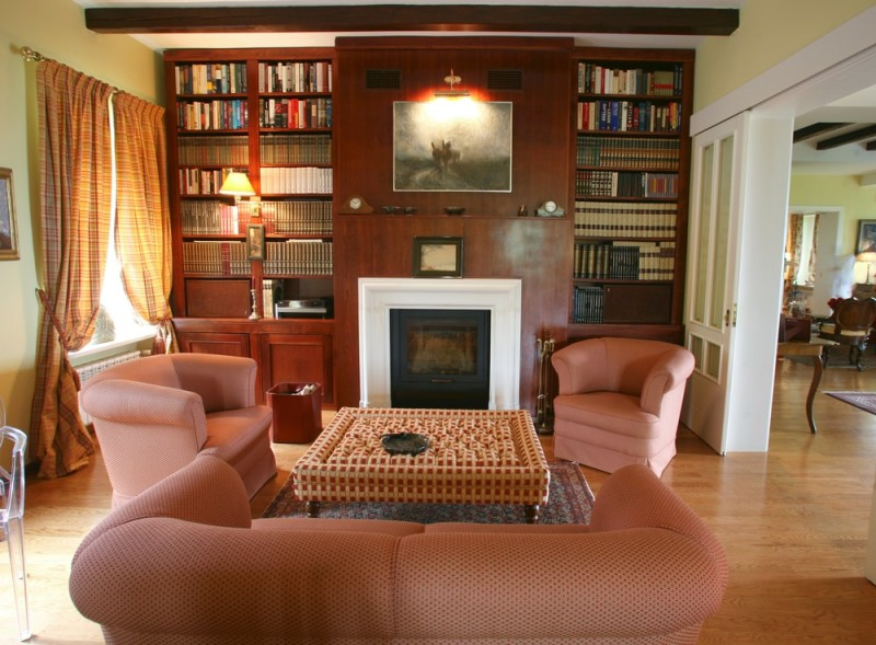 Modern relaxing living room with fireplace and bookcases on either