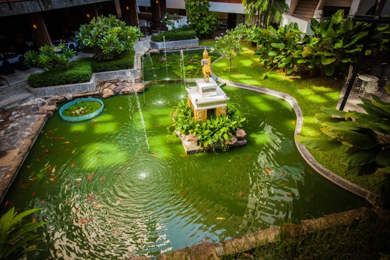 Natural garden landscaping with oriental themed pond