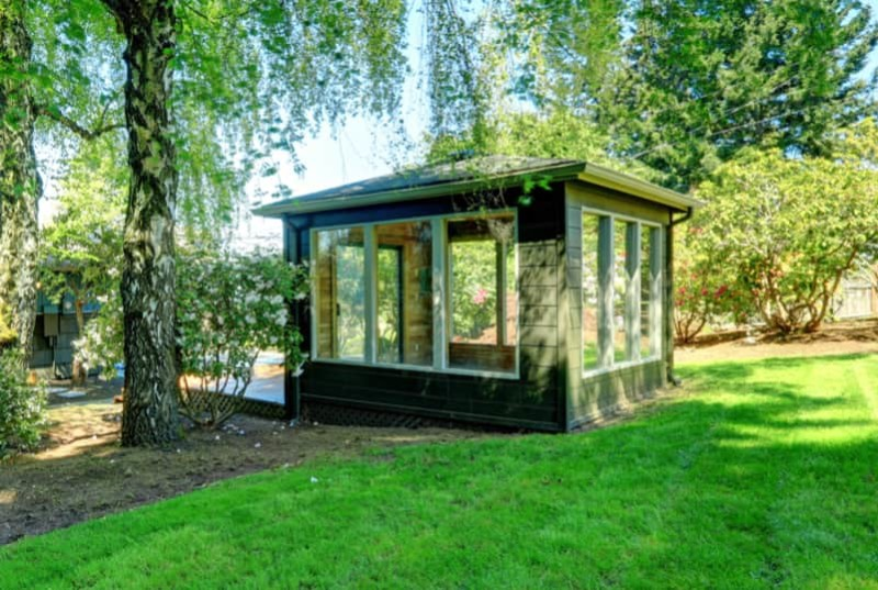 Nice Small Contemporary Garden Studio Room With Lots Of Windows