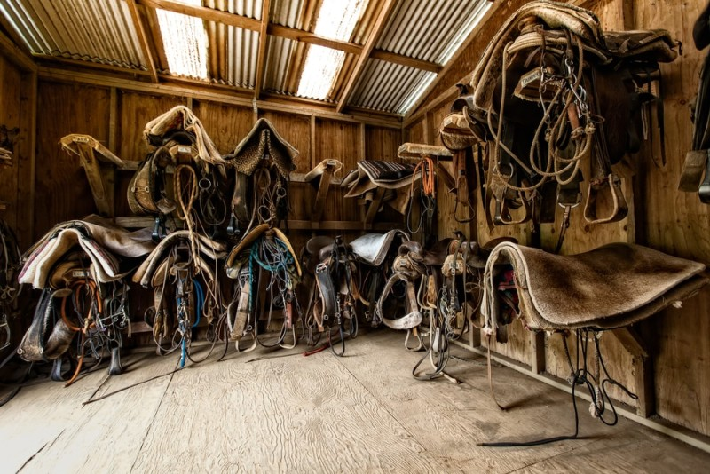 Old well used tack room at a professional riding training establishment
