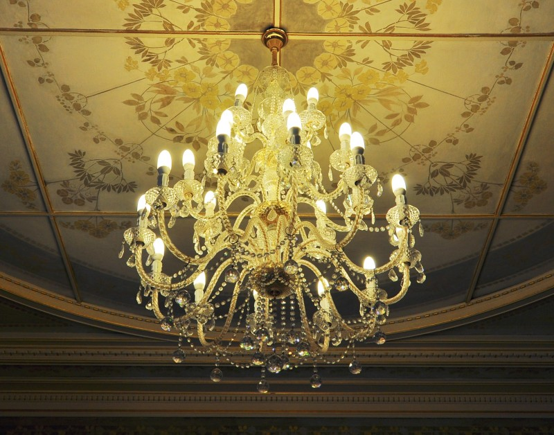 High end chandeliers and unique crystal chandeliers vintage ornate chandelier hanging from beautiful ceiling aloadofball Gallery