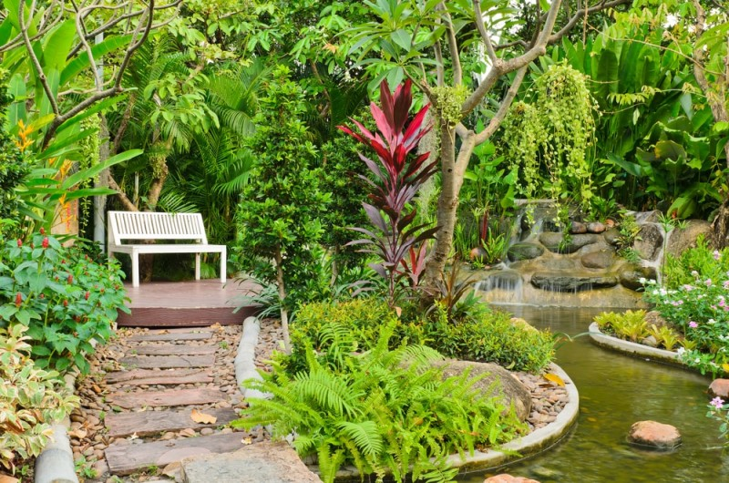 Walk way in beautiful landscaped garden with small waterfall and relaxing seat