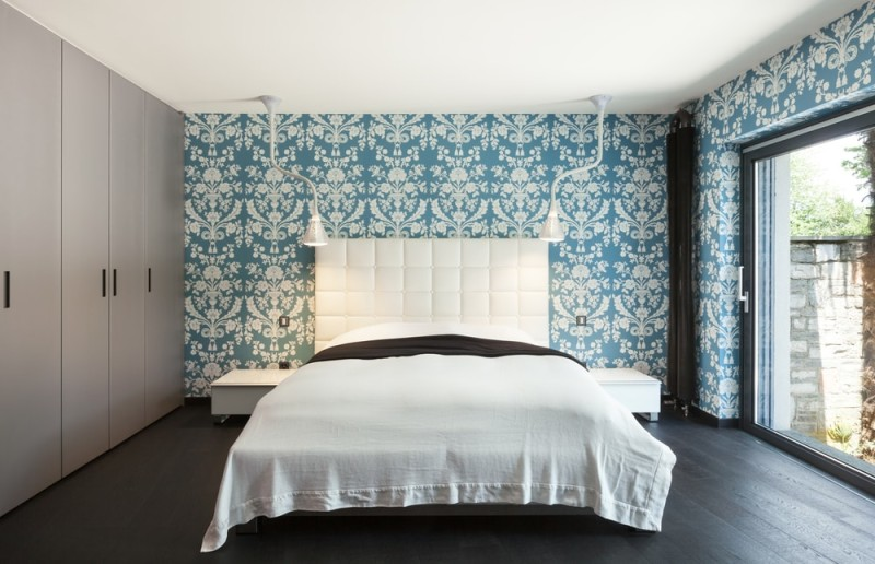 interior of a modern villa beautiful bedroom double bed min e1437892891984 - Blue and White Interiors