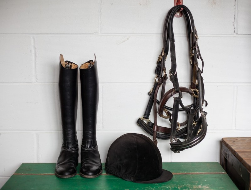 Tack room containing essential riding gear