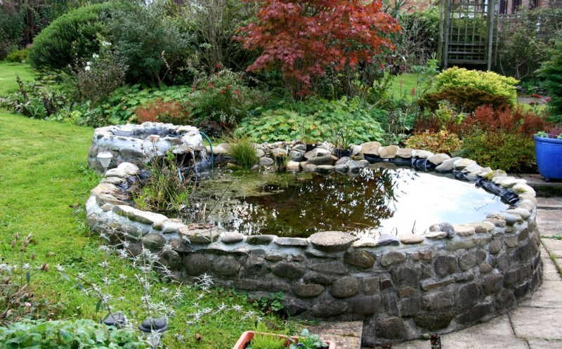 Garden Pond with small trickle waterfall min e1440359042979 - Backyard Pond Designs