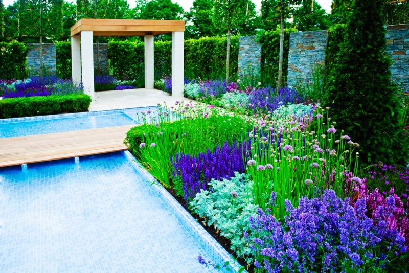 Garden landscape with modern pond min e1440358455174 - Backyard Pond Designs