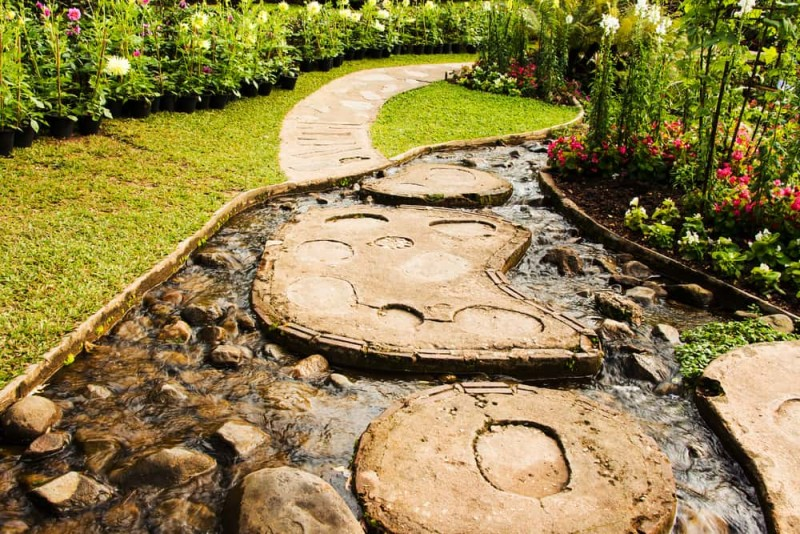 Landscape garden design. The path in the garden with pond in asian style min e1440360459246 - Backyard Pond Designs