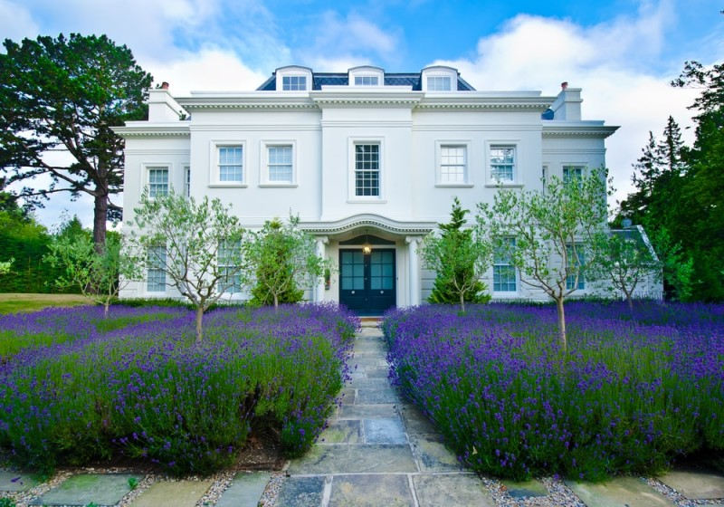 Ornate Lavender palace set in English countryside