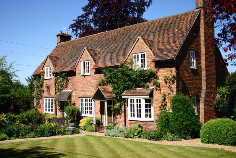 Traditional English country two storied brick cottage