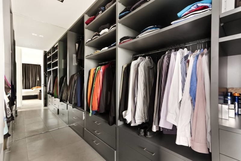 Beautiful apartment interior walk in closet wardrobe