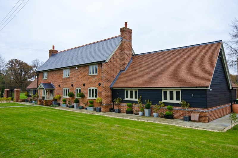 English brick house in the countryside