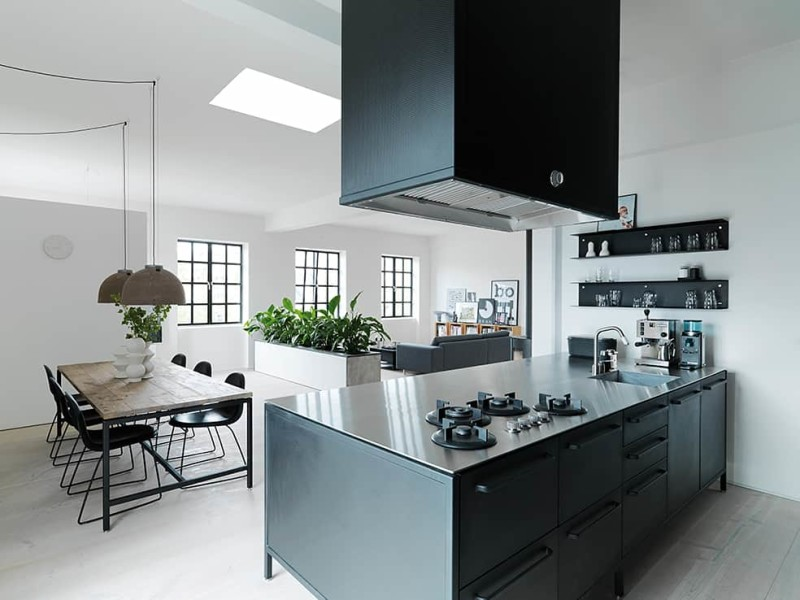 Kitchen by Vipp with 5mm stainless steel table top and integrated gas cooker hubs