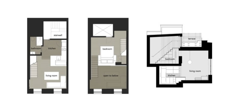 425 Sq Ft Micro loft Apartment Floor Plans and Section Drawing