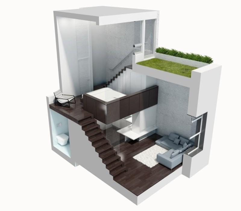 Cutaway 3D diagrammatic view of the Micro Loft Apartment