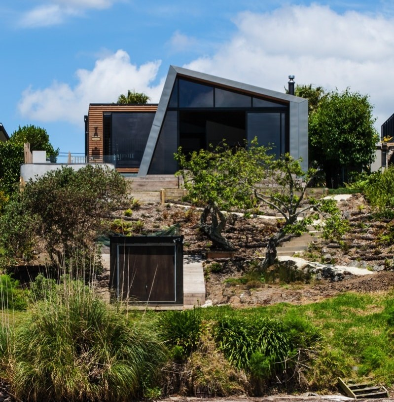 Rear view of the new section of the house from the coastal foreshore