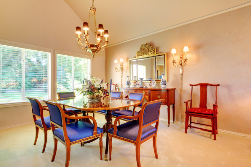Beautiful dining room with blue antique chairs e1445849336161 - Modern Dining Room Design and Elegant Dining Room Ideas