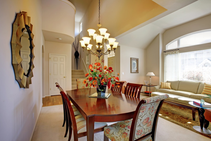 Classic elegant dining room with living room and high ceiling and large window e1445849960284 - Modern Dining Room Design and Elegant Dining Room Ideas