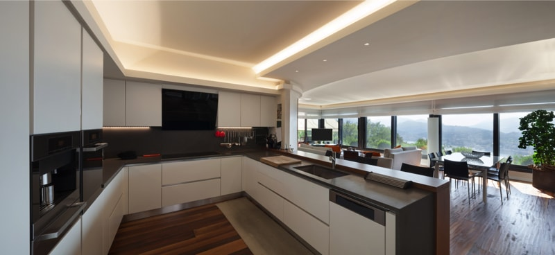 Modern kitchen with crisp white cabinets