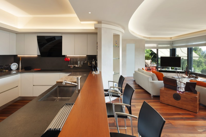 Beautiful modern kitchen in a luxury apartment blending in seamlessly with the décor.